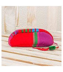 cotton cosmetic bag, 'happy days in red' (guatemala)