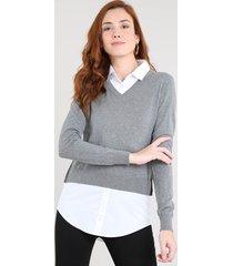 blusa feminina em tricô com sobreposição manga longa cinza mescla