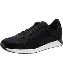 sapatênis saullo jogging fit couro/nylow preto