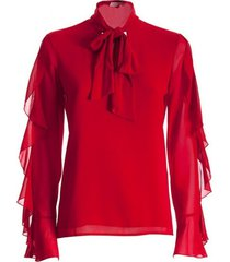 blouse met ruches - f120w15025w00401