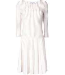 alberta ferretti flared embroidered dress - white