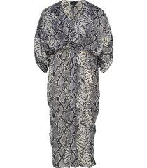 mfear, 3/4, dress knälång klänning grå zizzi