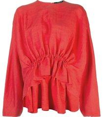 derek lam long sleeve linen blouse with gathered waist detail