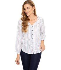 blusa manga larga cuello v rayas