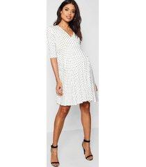 maternity polka dot wrap smock dress, white