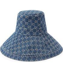 gucci gg supreme denim wide brim hat - blue