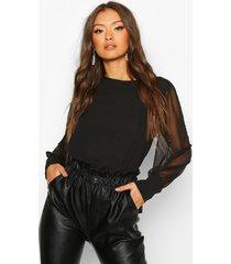 sheer sleeve soft blouse