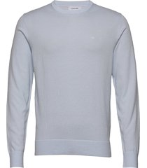 cotton silk c-neck sweater stickad tröja m. rund krage blå calvin klein