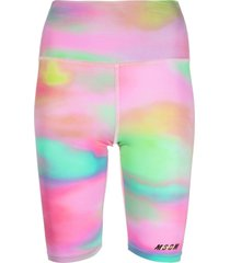msgm active logo tie-dye performance shorts - pink