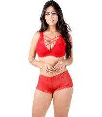 conjunto imi lingerie com bojo strappy bra em renda caleã§on bibi vermelho - multicolorido/vermelho - feminino - renda - dafiti