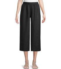 saks fifth avenue women's smocked wide-leg linen pants - alice stripe - size m