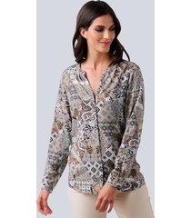 blouse alba moda taupe::offwhite::cognac