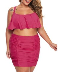 flounce crisscross ruched plus size skirted bikini swimsuit