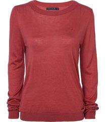 suéter dudalina básico decote careca manga longa tricot feminino (verde claro / light green, egg)