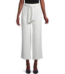 calvin klein women's seersucker cropped wide-leg pants - white - size l