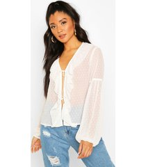 dobby mesh tie front ruffle blouse, ivory