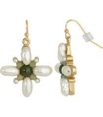 2028 gold-tone imitation pearl and semi precious stone drop earrings