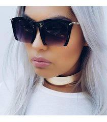 "oversized women semi rimless black gradient ""razor"" cut off lens sunglasses"