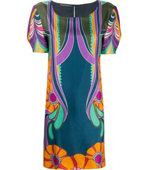 alberta ferretti flowers reflection silk dress - blue