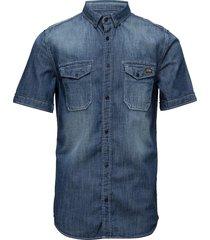 biker slim shirt s/s kortärmad skjorta blå superdry