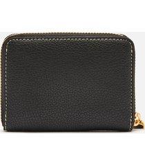 lauren ralph lauren women's stacked leather zip wallet - black