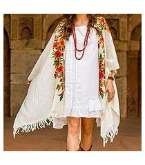 embroidered wool kimono cape, 'valley of the flowers' (india)
