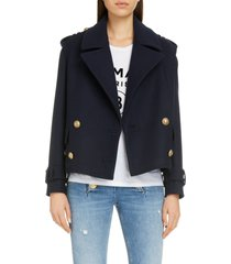women's balmain crop double breasted wool & cashmere peacoat, size 12 us - blue