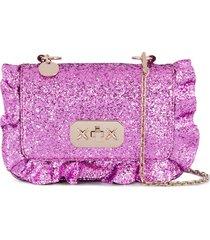 red(v) ruffled-detail glitter shoulder bag - pink