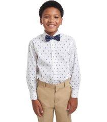 tommy hilfiger big boys 2-pc. regular-fit tree-print dress shirt & plaid bow tie set