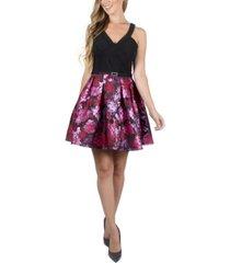 crystal doll juniors' floral-skirt dress