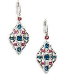 deep sea blue topaz™ raspberry rhodolite® vanilla diamonds® and chocolate diamonds® 14k vanilla gold® earrings