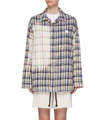 flannel print bleach patch jacket