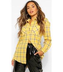 petite geruite blouse met zakken, geel