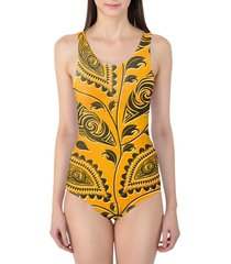 african tribal leaves women's swimsuit