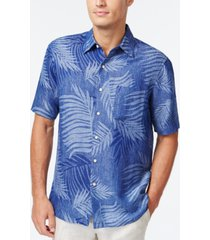 tasso elba leaf jacquard silk linen blend short-sleeve shirt, created for macy's