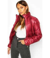 funnel neck puffer jacket, wine