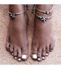 antichi vintage argento cavigliera donne starfish rune perline braccialetto caviglia gioielli piede boho