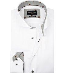 cavallaro shirt wit met contrastkraag