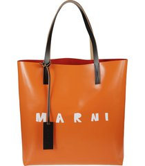 marni logo print shopper bag