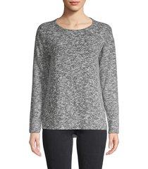 design history women's heathered long-sleeve top - black combo - size xs