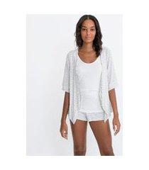 pijama blusa manga curta e short em viscolycra listrada com regata por baixo | lov | branco | m