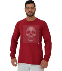 camiseta manga longa moletinho alto conceito caveira moldura reticular monocromatica vermelho escuro - vermelho - masculino - algodã£o - dafiti