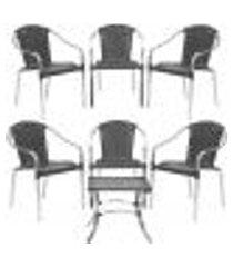 jogo cadeiras 6un e mesa de centro pinheiro para edicula jardim area varanda descanso - preto
