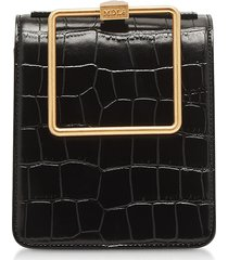 marge sherwood designer handbags, black croco embossed leather large pump handle satchel bag