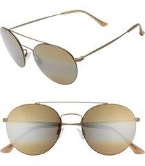 women's maui jim pele's hair 53mm polarizedplus2 round flat front sunglasses - gold/ bronze