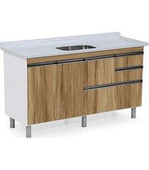 gabinete para cozinha 150cm mdp 15mm coliseu nogal sevilha 144,2x69,5x49,5cm - rorato - rorato
