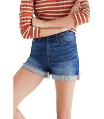 madewell high rise cuffed denim shorts, size 31 in glenoaks wash at nordstrom