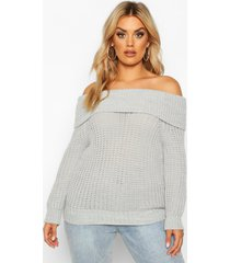 plus bardot soft knit oversized sweater, grey