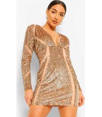 premium mesh bodycon jurk met pailletten, champagne