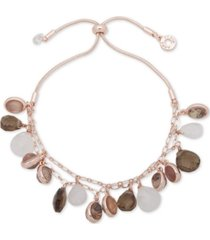 anne klein rose gold-tone multi-stone double strand slider bracelet